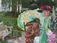 Two ladies in a garden with a dog by Susan Brabeau