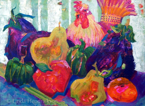 Rooster in the Produce by Linda Hendrickson