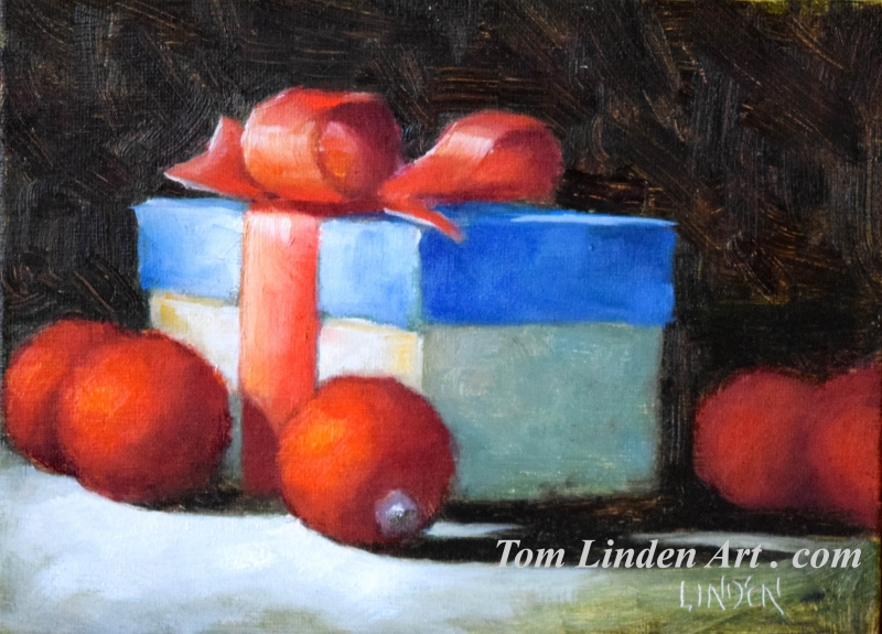 Christmas Package and Ornaments  by Tom Linden