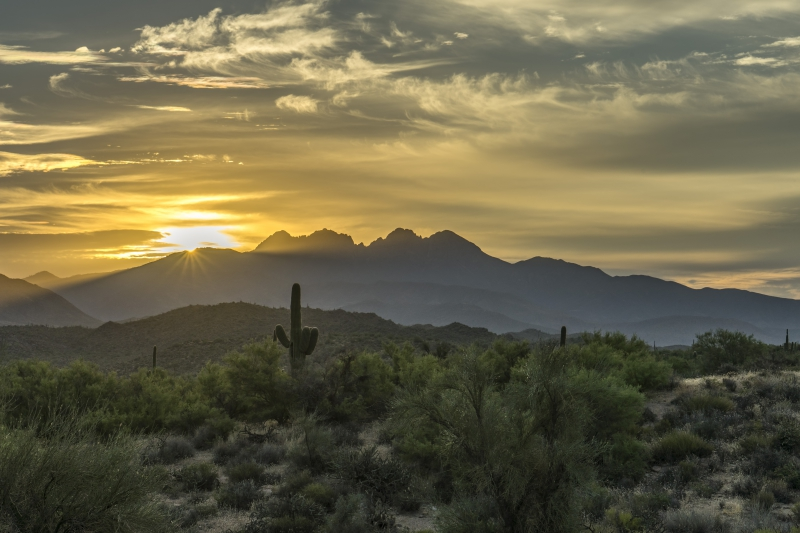 Morning Breaks Over Four Peaks by A O Tucker