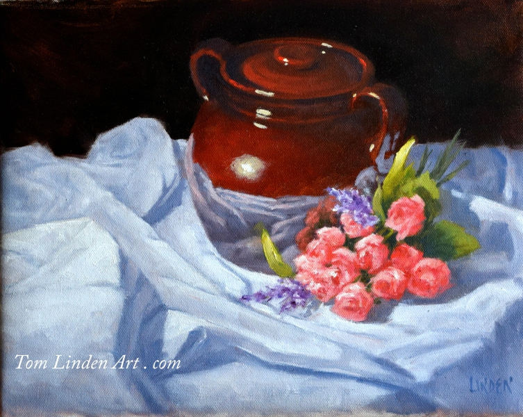 Pot and Rose Buds by Tom Linden