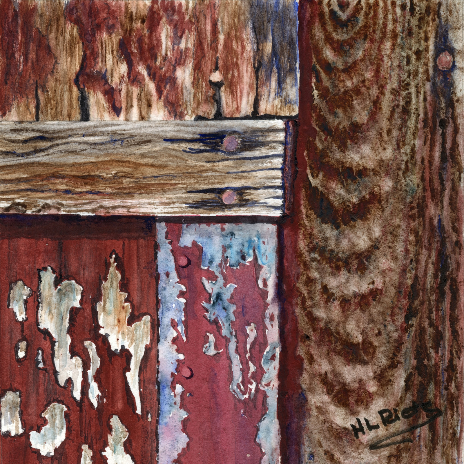 The Barn on York Road - Detail #4 by Helen L. Rietz