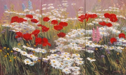 Daisies and Poppies by John Horejs