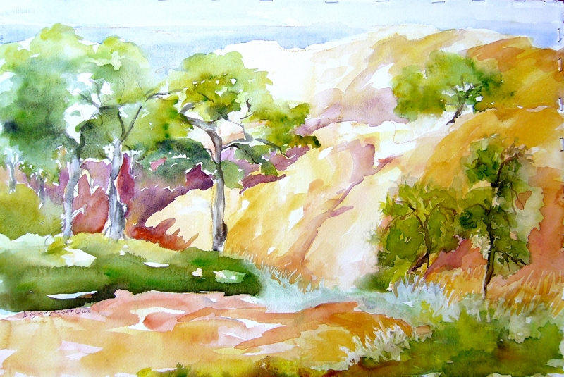 Sandstone Cliffs by Sue Zinngrabe Gold
