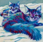 Blue Kitties by Linda Hendrickson