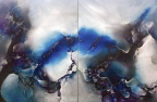 Stars Colliding - diptych by Monika Wright