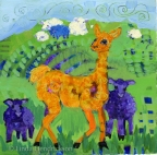 Curly with Scattered Sheep by Linda Hendrickson