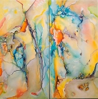 Dancing Star diptych by Monika Wright
