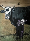 Blue Jean Mama with Purple Calf by Jenny Gummersall