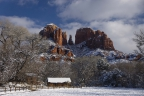 Cathedral Rock White Blanket by A O Tucker