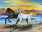 Beach Run Horses by Jeanne Lloyd