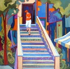 Coffee Shop Stairs by Carolee Clark