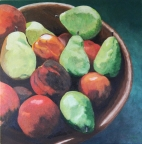 Pears and Nectarines in a Wooden Bowl by Amelia Kay Wall