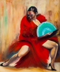Flamenco Dancer with a Turquoise Fan by Jenny Anne Morrison