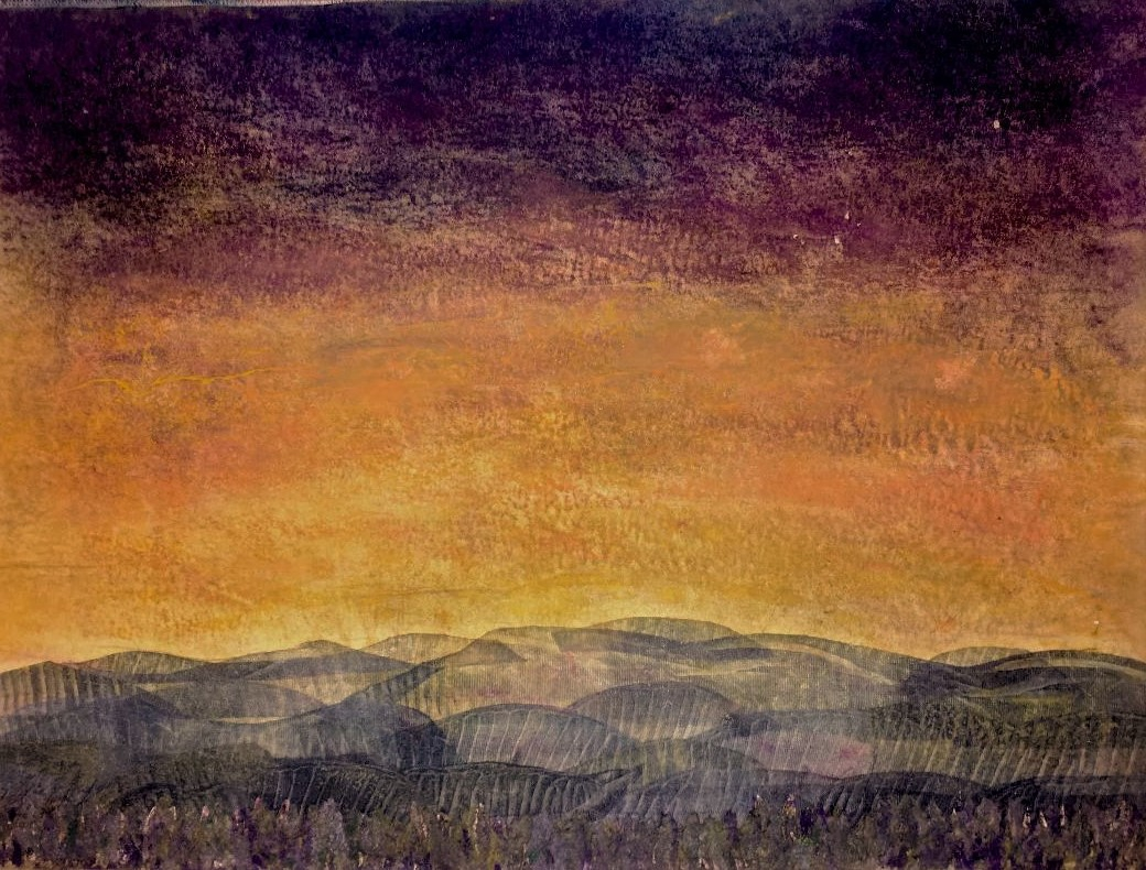 Distant HIlls by Linda Snouffer,Botanical Printmaker