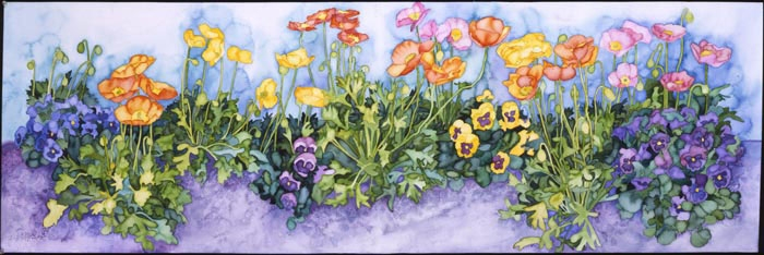 Poppies and Pansies by Joan Metcalf