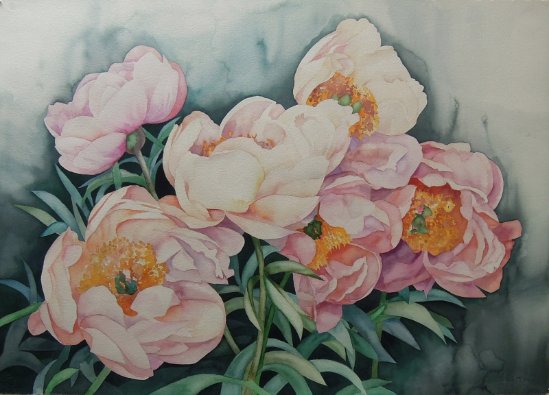Windblown Peonies by Joan Metcalf