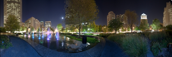 City Garden Night Panora by David Coblitz - The St. Louis Artographer