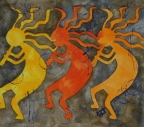Kokopelli Three by Jennifer Love